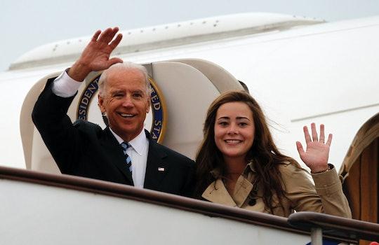 BEIJING, CHINA - AUGUST 17: U.S. Vice President Joe Biden (L) waves with his granddaughter Naomi Bid...