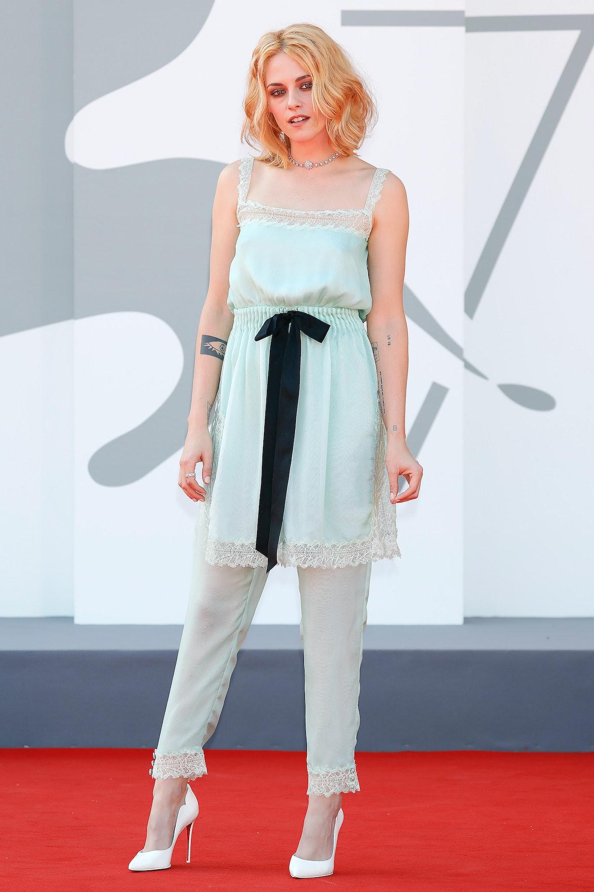 VENICE, ITALY - SEPTEMBER 03, 2021: Kristen Stewart arrives on the red carpet of 'Spencer' during th...