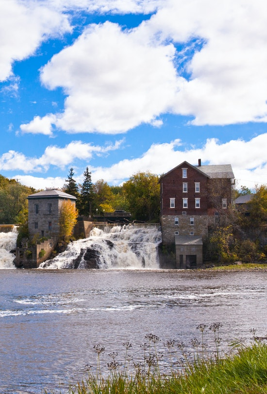 The image shows the falls on Otter Creek in the center of the city of Vergennes, the smallest city i...