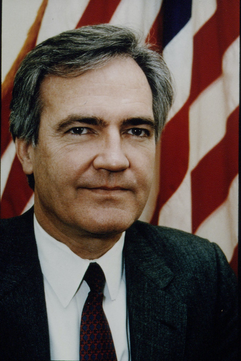 A portrait of Vince Foster, Bill Clinton's advisor who died by suicide in 1993.