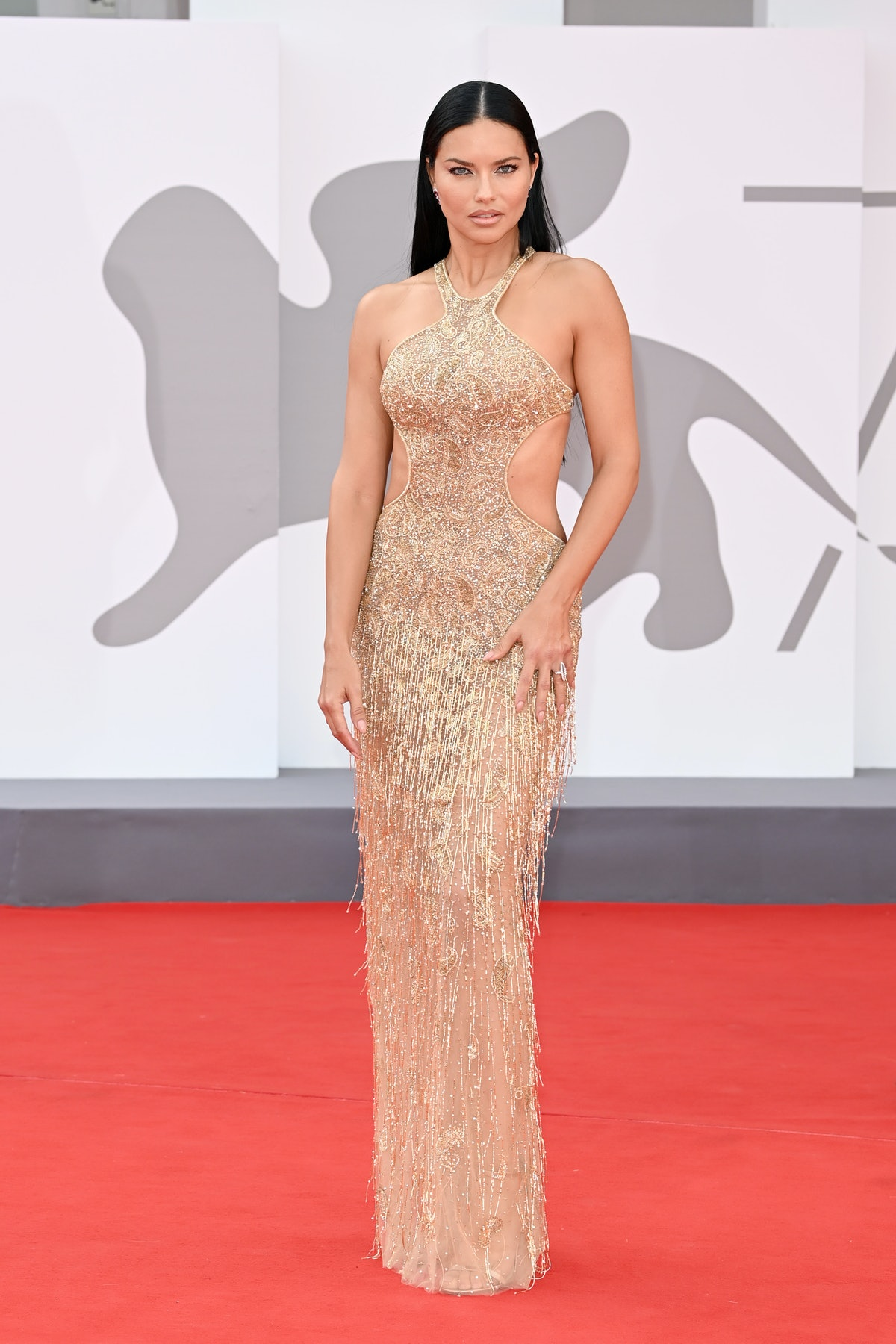 """Adriana Lima attends the red carpet of the movie """"Dune"""" during the 78th Venice International Film Fe..."""