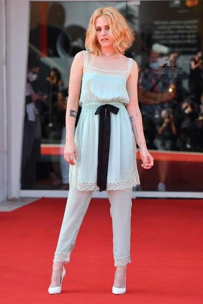 """VENICE, ITALY - SEPTEMBER 03: Kristen Stewart attends the red carpet of the movie """"Spencer"""" during t..."""