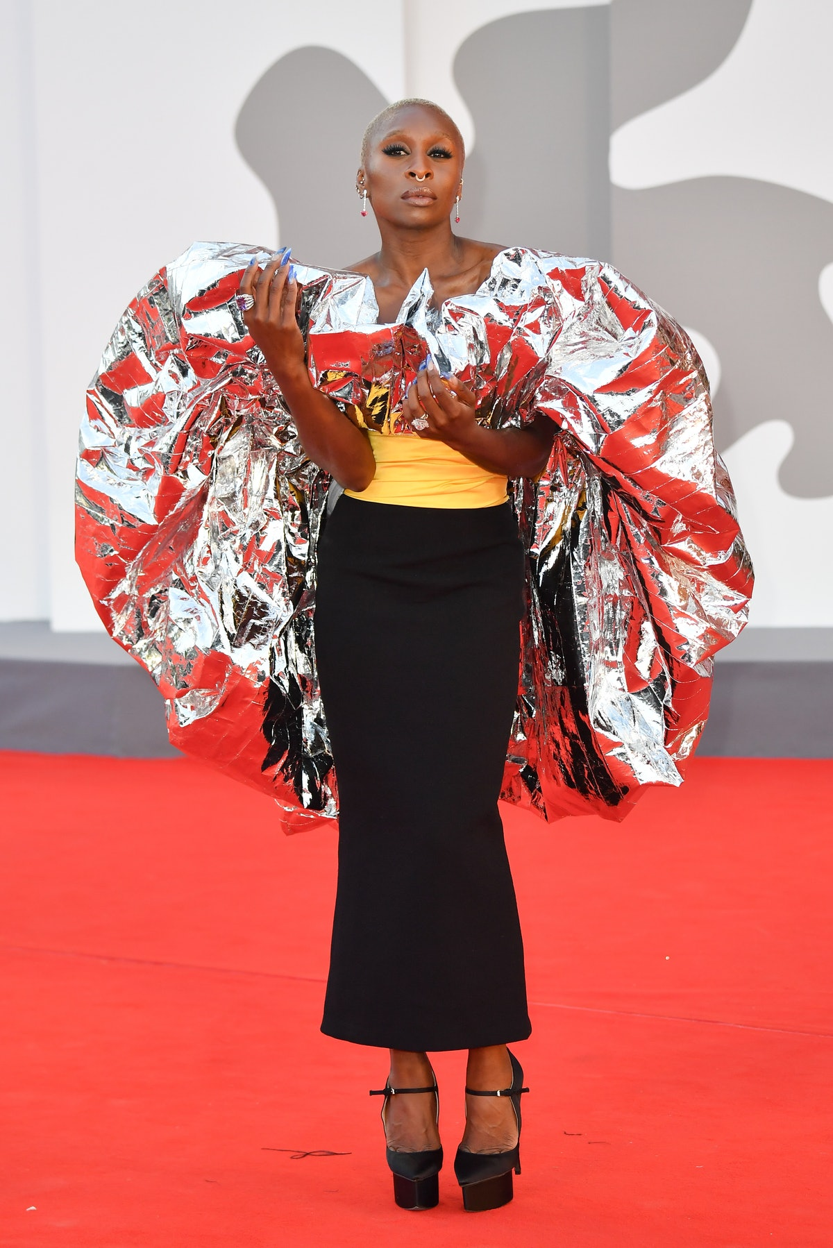 """Cynthia Erivo attends the red carpet of the movie """"Dune"""" during the 78th Venice International Film F..."""