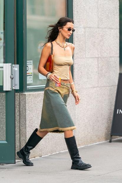 NEW YORK, NEW YORK - SEPTEMBER 01: Bella Hadid is seen in Tribeca on September 01, 2021 in New York ...