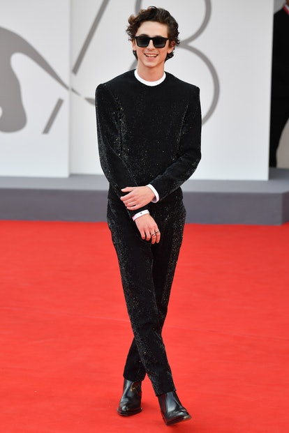 """VENICE, ITALY - SEPTEMBER 03: Timothée Chalamet attends the red carpet of the movie """"Dune"""" during th..."""