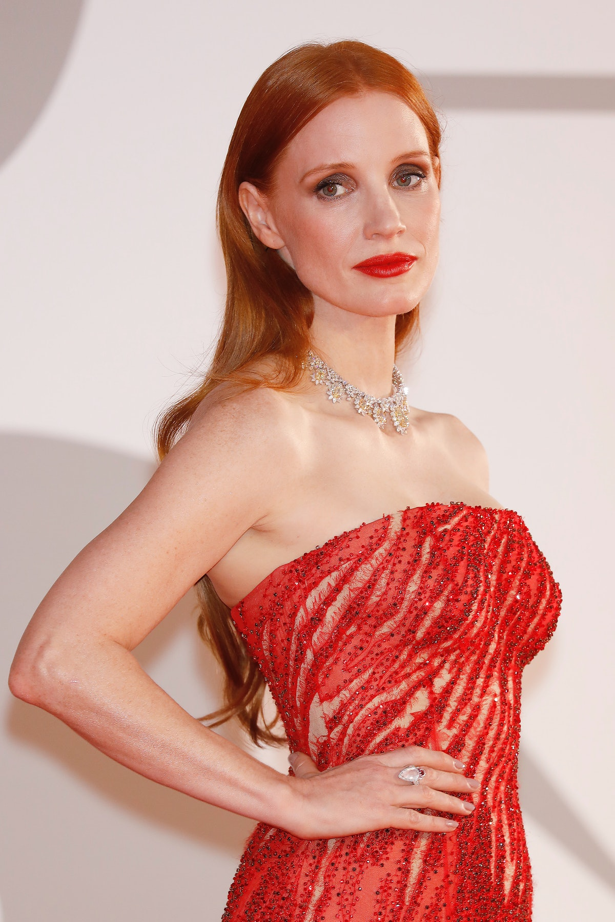 VENICE, ITALY - SEPTEMBER 04, 2021: Jessica Chastain arrives on the red carpet for 'Scenes From A Ma...