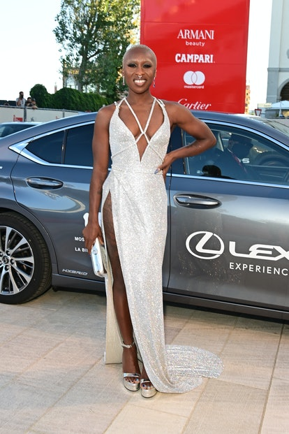 """VENICE, ITALY - SEPTEMBER 01: Jury member, Cynthia Erivo arrives on the red carpet ahead of the """"Mad..."""