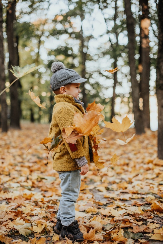 Boy playing in fall leaves.