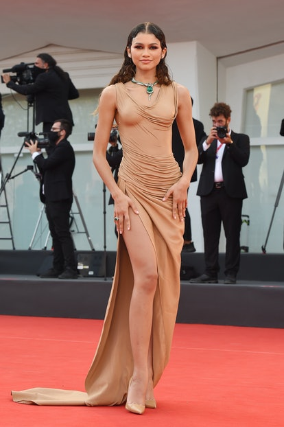 """VENICE, ITALY - SEPTEMBER 02:  Zendaya attends the red carpet of the movie """"Dune"""" during the 78th Ve..."""
