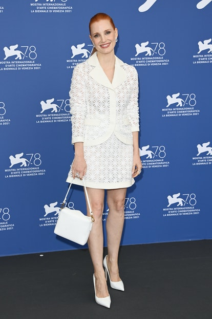 """VENICE, ITALY - SEPTEMBER 04: Jessica Chastain attends the photocall of """"Scenes From A Marriage"""" dur..."""