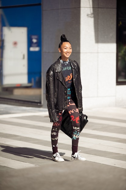 STOCKHOLM, SWEDEN - SEPTEMBER 01: Guest wearing outfit from H&M in collaboration with Jacob Fellande...