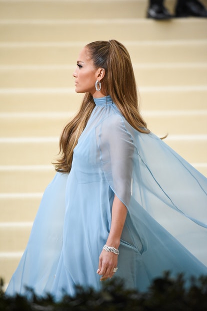 At the 2017 Met Gala, J.Lo sported a half-high ponytail.