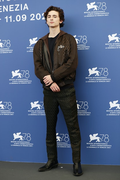 """VENICE, ITALY - SEPTEMBER 03: Timothée Chalamet attends the photocall of """"Dune"""" during the 78th Veni..."""