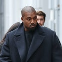 LONDON, ENGLAND - OCTOBER 10: Kanye West seen leaving Michiko Sushino restaurant with his daughter N...