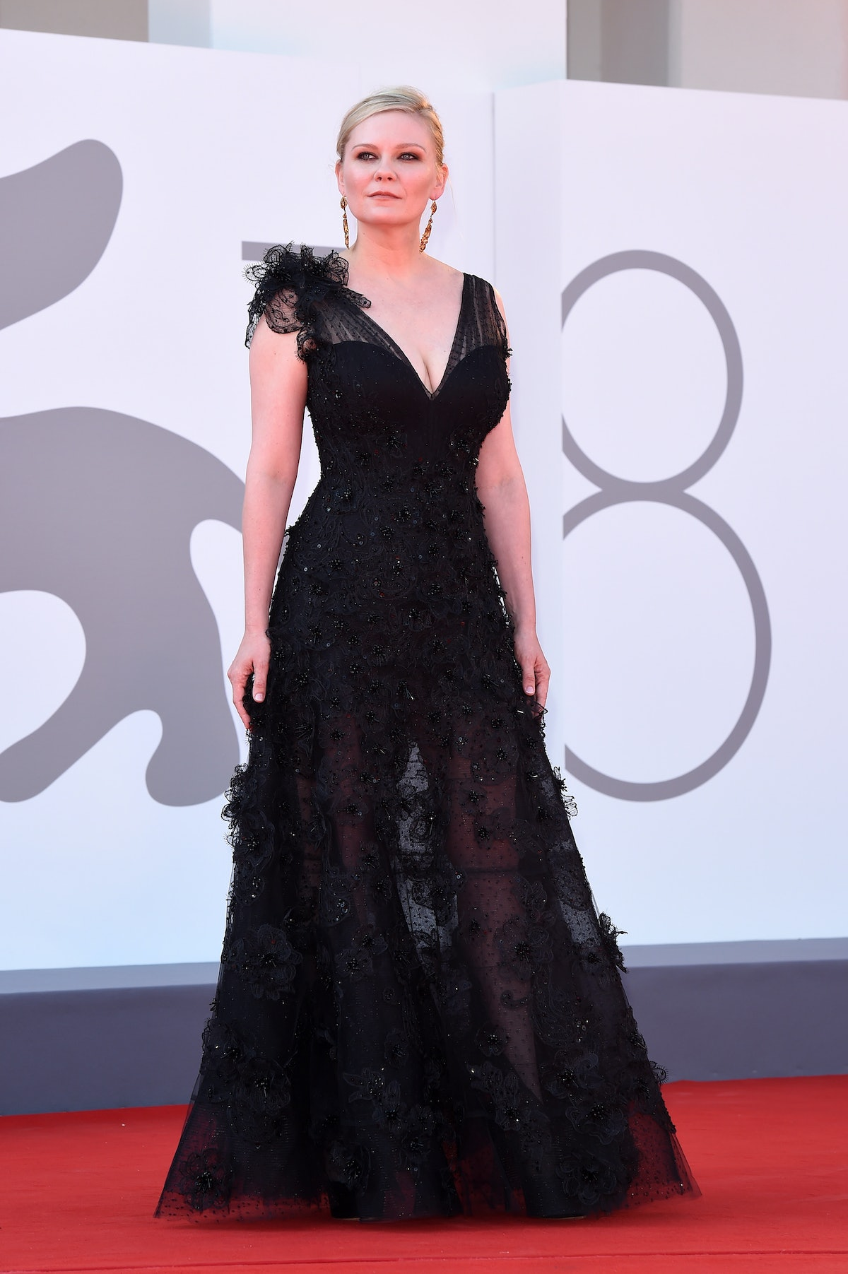 """Kirsten Dunst attends the red carpet of the movie """"The Power Of The Dog"""" during the 78th Venice Inte..."""