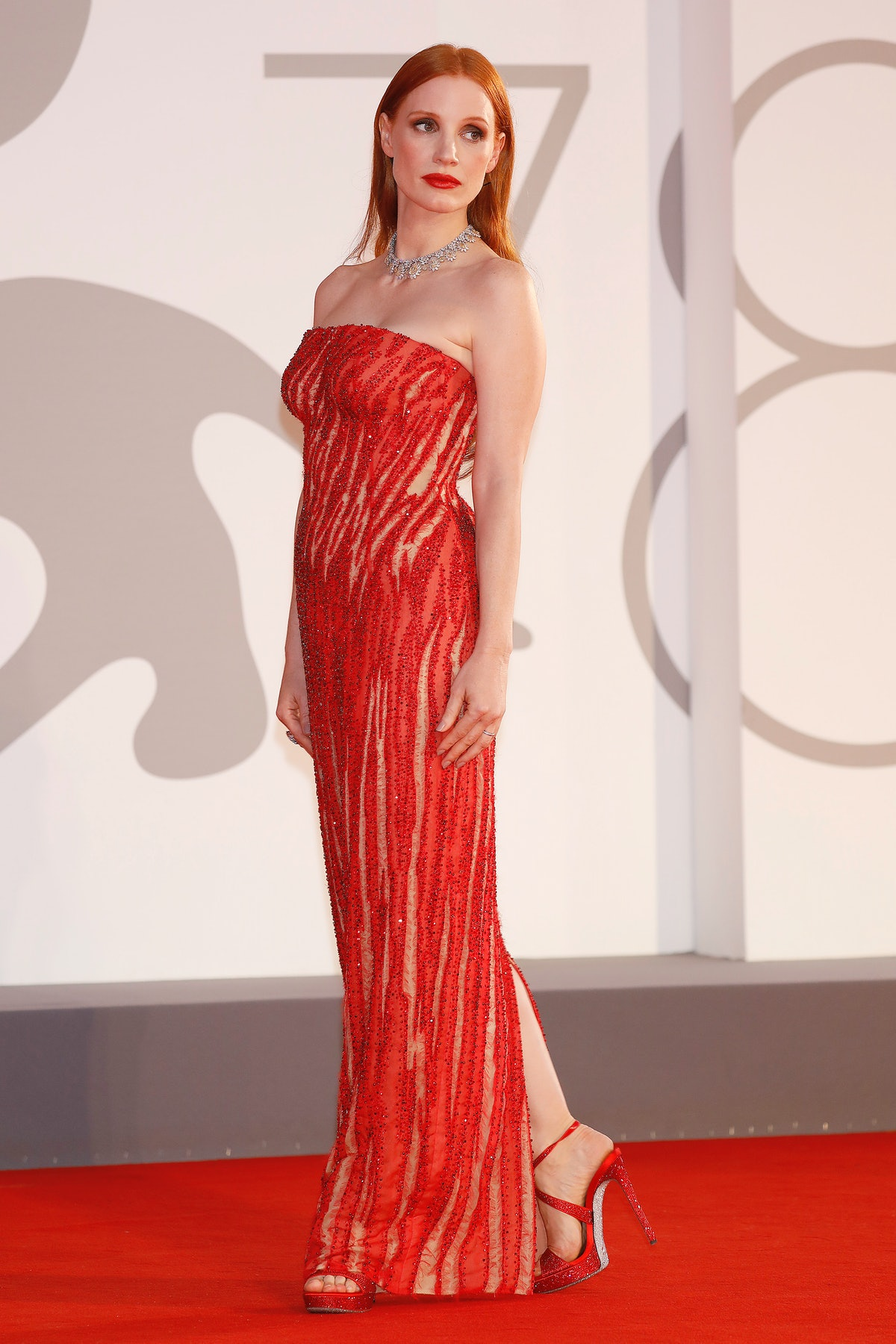 Jessica Chastain arrives on the red carpet for 'Scenes From A Marriage' during the 78th Venice Inter...