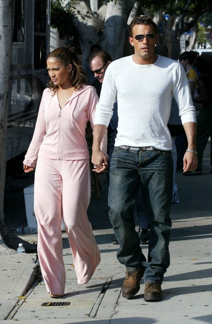 """Jennifer Lopez and Ben Affleck looked cozy on the set of the """"Jenny From The Block"""" music video in 2..."""