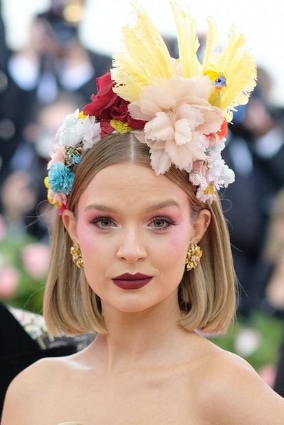 Model Josephine Skriver attends the 2019 Met Gala celebrating Camp with a dramatic blush.