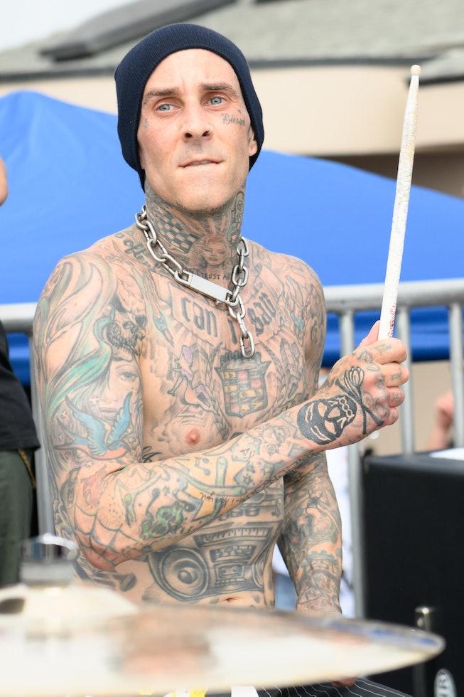 VENICE, CALIFORNIA - JUNE 19: Drummer Travis Barker performs onstage during the Machine Gun Kelly x ...