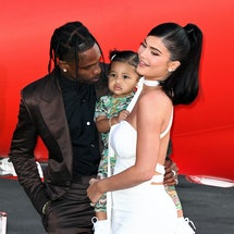SANTA MONICA, CALIFORNIA - AUGUST 27: (L-R) Travis Scott, Stormi Webster, and Kylie Jenner attend th...