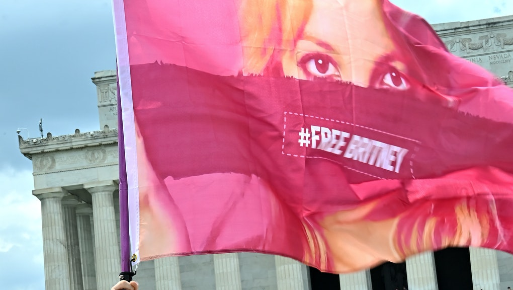 WASHINGTON, DC - JULY 14: Signs at the #FreeBritney Rally at the Lincoln Memorial on July 14, 2021 i...