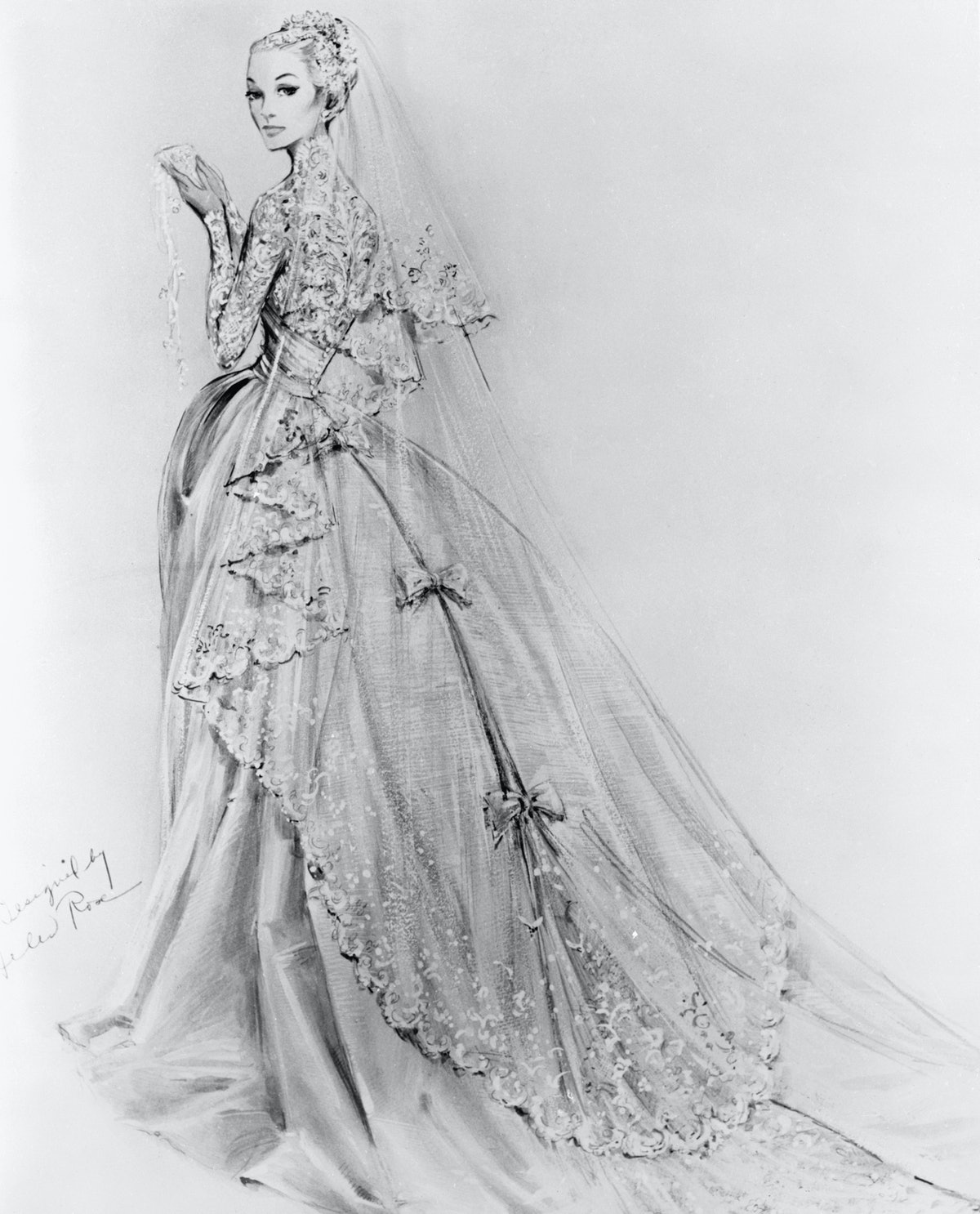 A sketch of Grace Kelly's Cathedral Wedding Gown, created by American costume designer Helen Rose an...