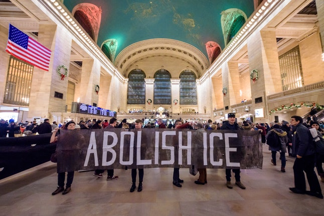 MANHATTAN, UNITED STATES - 2019/12/19: Protesters holding a banner at the silent protest. Members of...