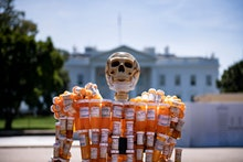 Pill Man, a skeleton made from Frank Huntley's oxycontin and methadone prescription bottles, is seen...