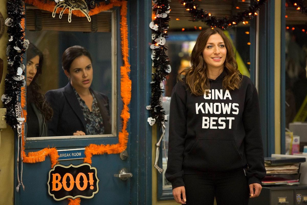 BROOKLYN NINE-NINE: L-R: Stephanie Beatriz, Melissa Fumero and Chelsea Peretti in the Halloween IV e...