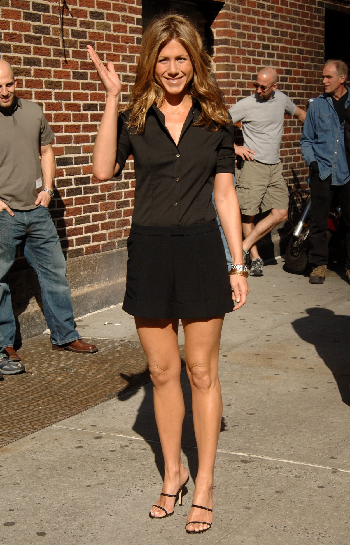 """Jennifer Aniston stops by ''The Late Show"""" with David Letterman held at the Ed Sullivan Theatre, New..."""