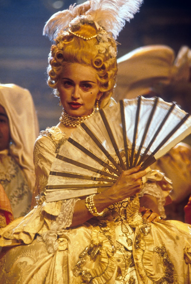 American singer and actress Madonna performing her song 'Vogue,' on the MTV Video Music Awards in Se...