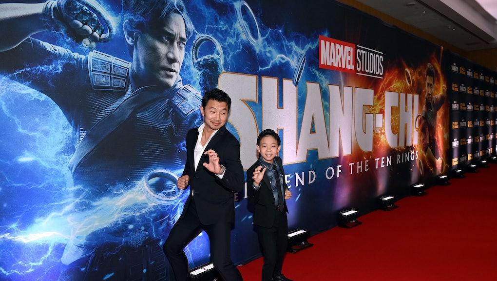 TORONTO, ONTARIO - SEPTEMBER 01: (L-R) Simu Liu and Jayden Zhang attend the Toronto Premiere of 'Sha...