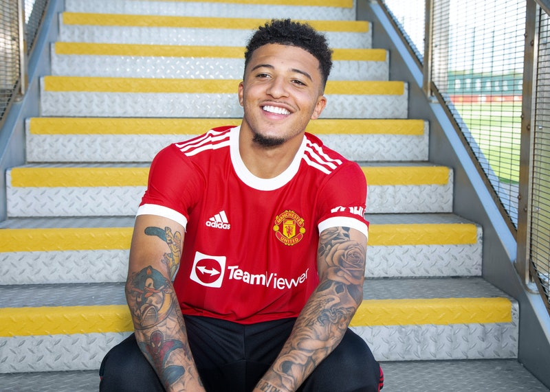 MANCHESTER, ENGLAND - JULY 23:   New signing  Jadon Sancho of Manchester United is unveiled at Carri...