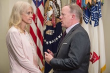 White House spokesman Sean Spicer speaks with Kellyanne Conway, Counselor to US President Donald Tru...
