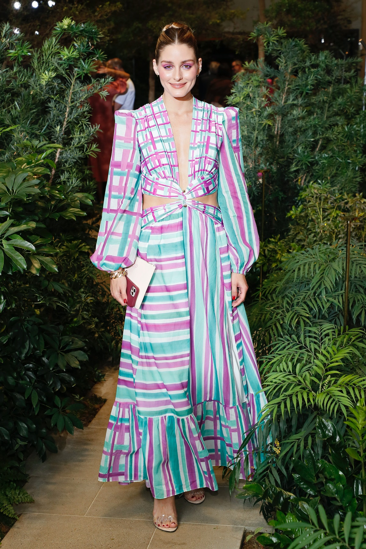 Olivia Palermo poses backstage for PatBO during NYFW: The Shows at Le Pavillon in New York City in S...