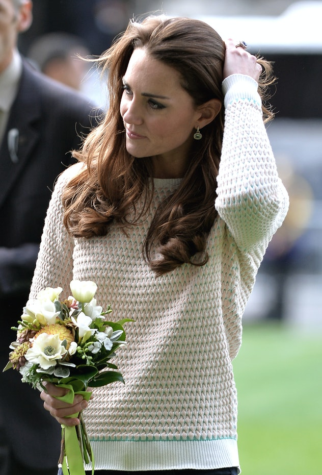 Kate Middleton wears a fisherman's knit sweater.