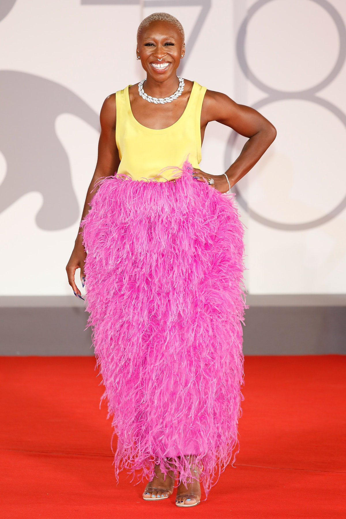 Cynthia Erivo arrives on the red carpet for  'zzz' during the 78th Venice International Film Festiva...