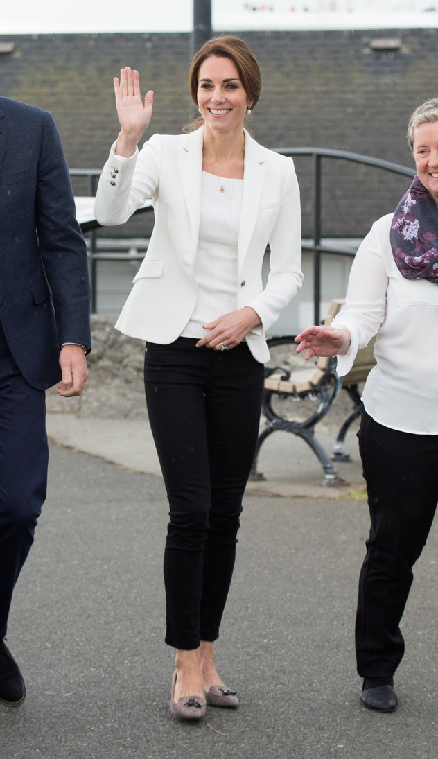 Kate Middleton wears ankle-length pants and a blazer.