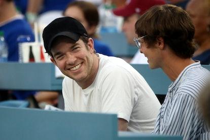 John Mulaney watches the Los Angeles Dodgers vs the Philadelphia Phillies at Dodger Stadium on June ...