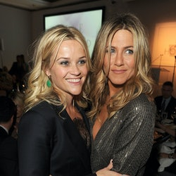 LOS ANGELES, CA - OCTOBER 17:  Actresses Reese Witherspoon (L) and Jennifer Aniston attend ELLE's 18...