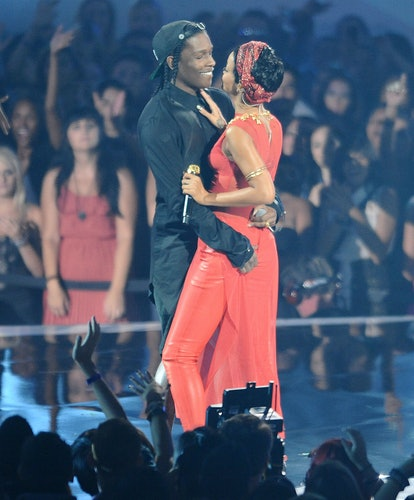 """LOS ANGELES, CA - SEPTEMBER 06:  ASAP Rocky and Rihanna give a sexy performance of RiRi's song """"Cock..."""