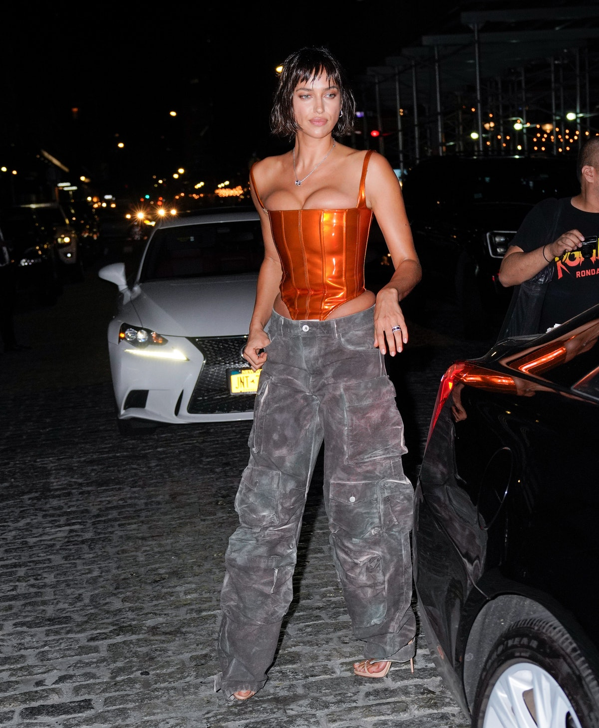 Irina Shayk is seen at Bvlgari in New York City in September 2021.
