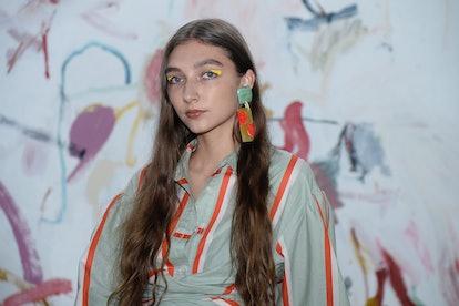 NEW YORK,NEW YORK - SEPTEMBER 08: A model poses at Tanya Taylor Presentation Spring/Summer 2022 at D...