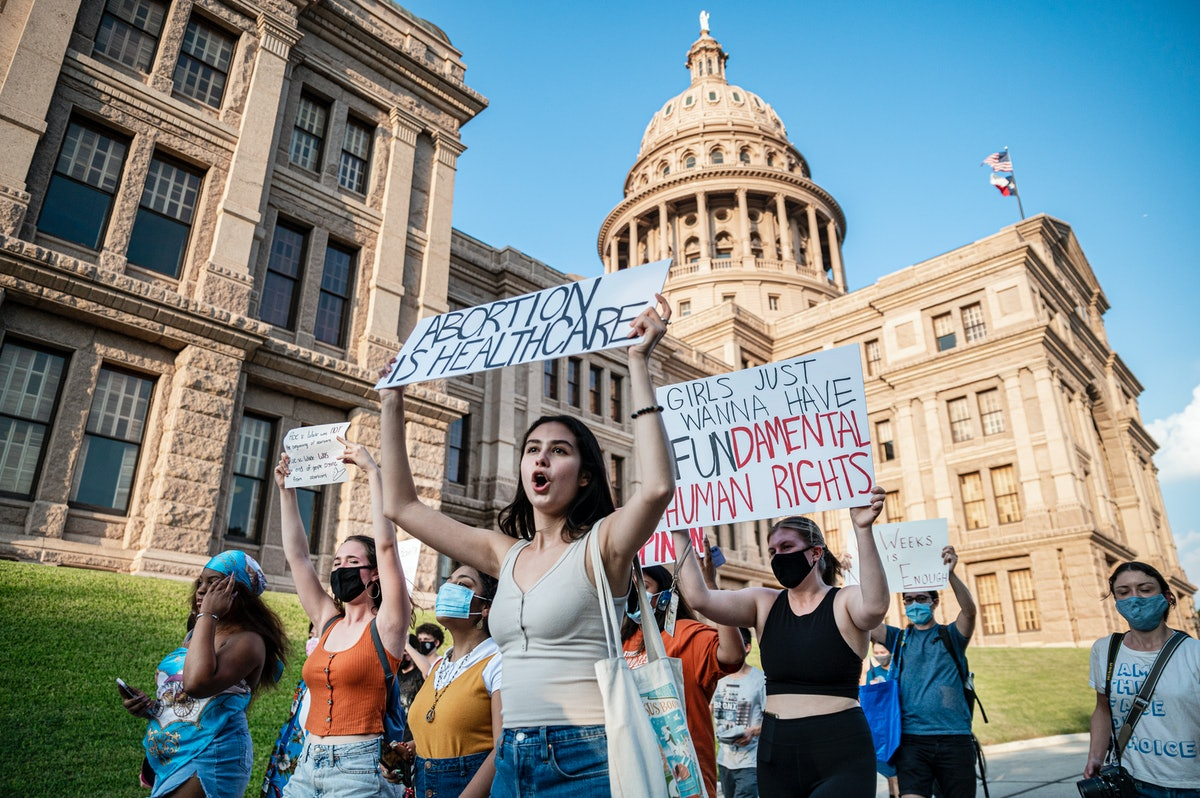 Pro-choice protesters march outside the Texas State Capitol on Wednesday, Sept. 1, 2021 in Austin, T...