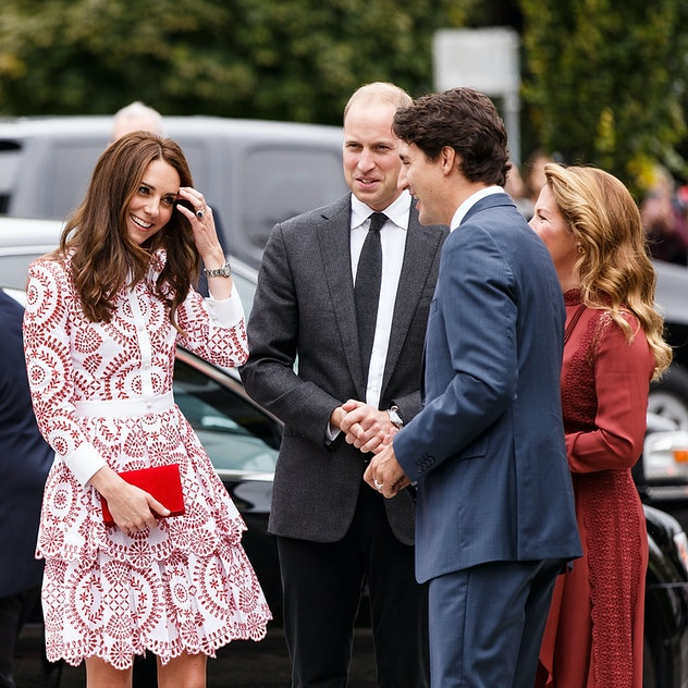 Kate Middleton in a red floral dress for fall.