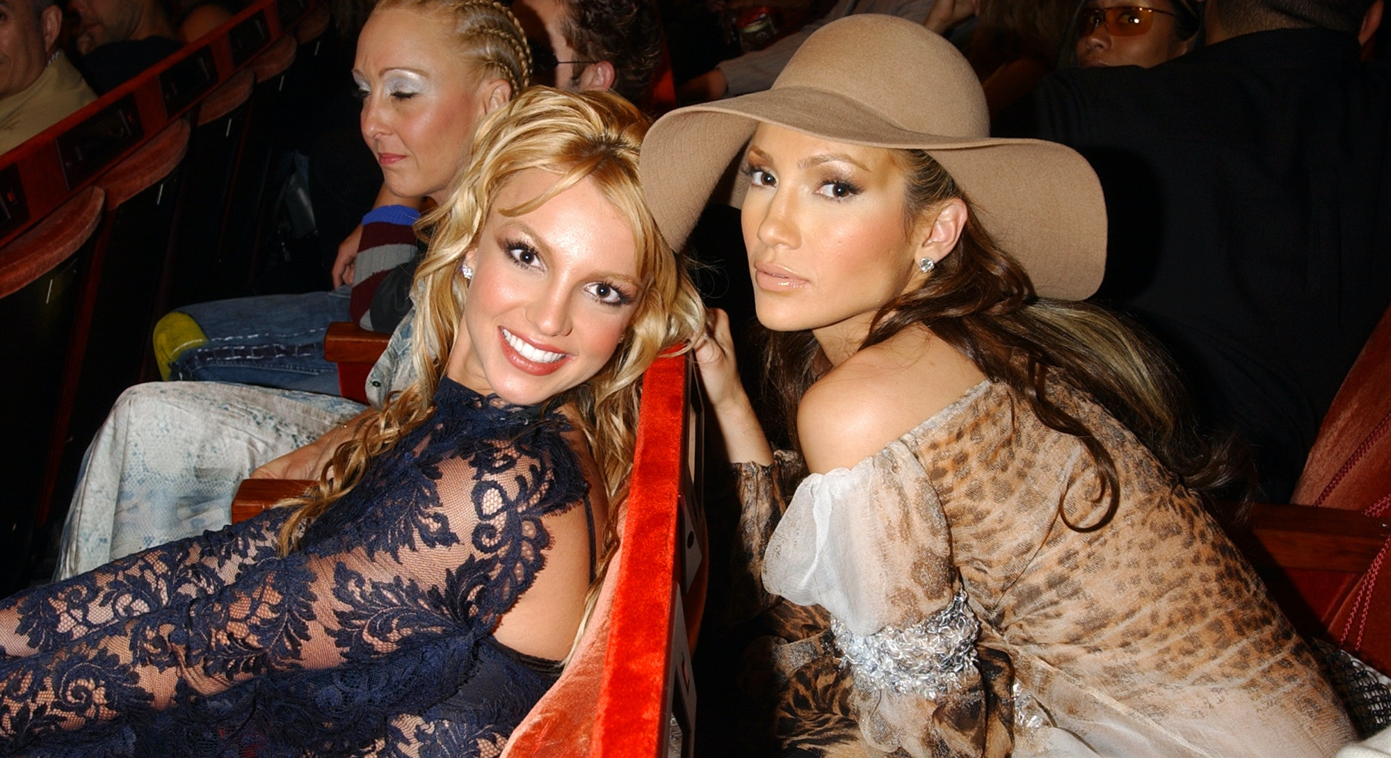 Britney Spears and Jennifer Lopez during 2001 MTV Video Music Awards - Audience and Backstage at The...