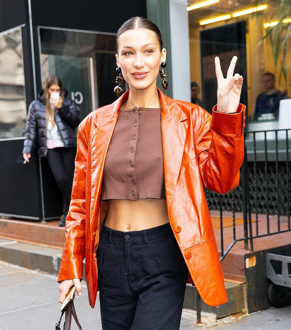 NEW YORK, NEW YORK - FEBRUARY 12: Bella Hadid at Sadelle on February 12, 2020 in New York City. (Pho...
