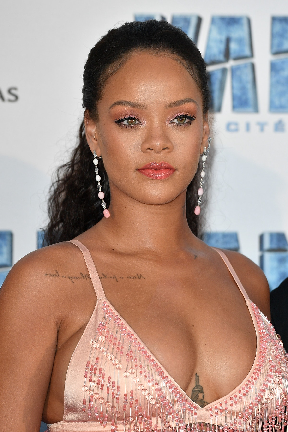 Rihanna at a 2017 movie premiere, who has spoken out about abusive relationships.