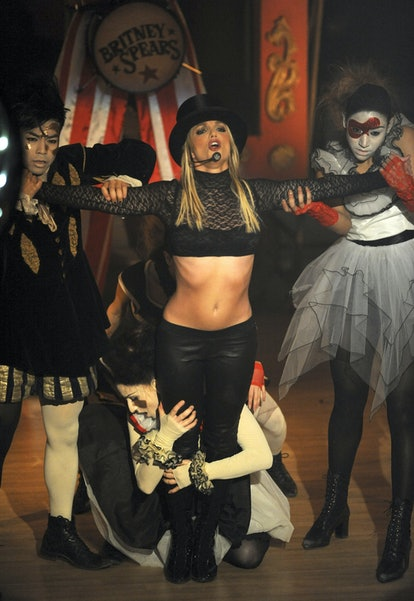 """Dress as Britney Spears """"Circus"""" ringmaster for Halloween."""