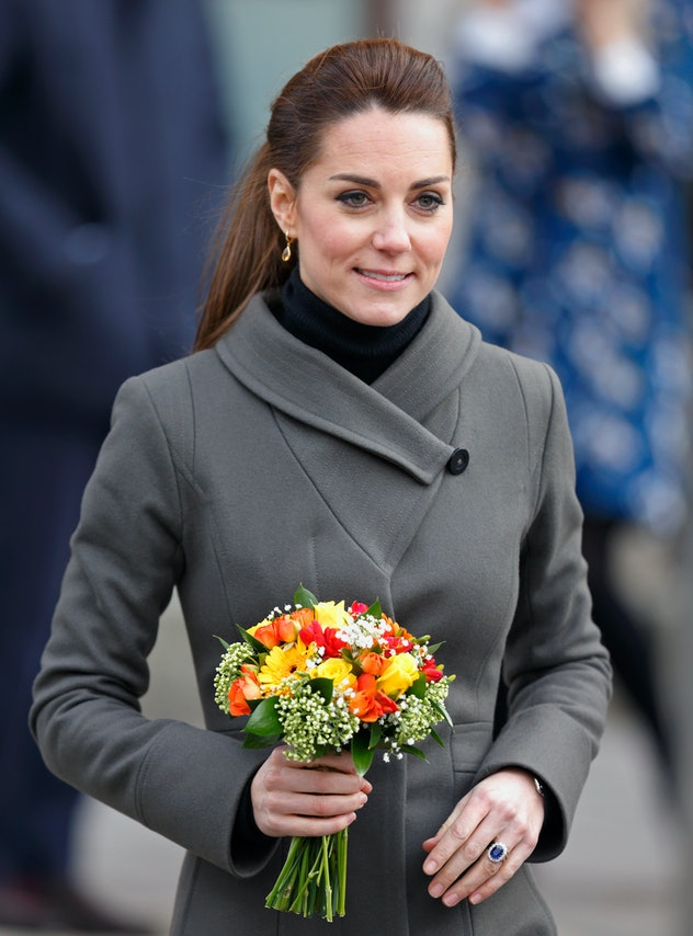 Kate Middleton opts for a military-style jacket.